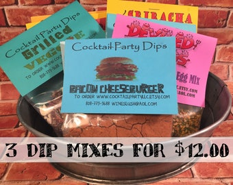 Dip Mixes 3 Dips for 12 dollars| Seasoning Mixes|All Natural|No MSG|Gluten Free|Spices|Herbs|Hostess Gift|Snack Food|Party Dip|Gift For Him