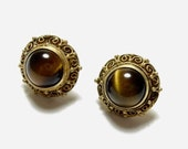 Old Antique Chinese Silver Gilt Filigree & Tigers Eye Earrings