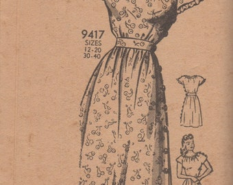 6708385f4691e Vintage Marian Martin 9417 - Day Dress with Gathered Neckline and Cap  Sleeves, Side Buttons, Ruffles - Bust 30 - 1940's