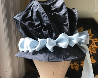 Caned Black Figured  Silk Bonnet ca 1773