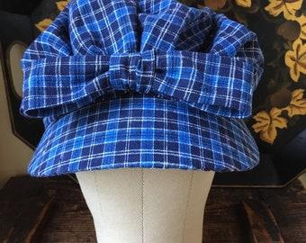 Girl's 1770s Summer Bonnet in linen check