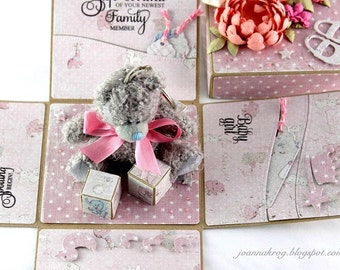 Baby Girl, Handmade Card, New Arrival, Welcome Baby, Cards, Exploding box
