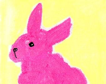 Pink bunny rabbit art. Mixed media illustration. Digital print to download.