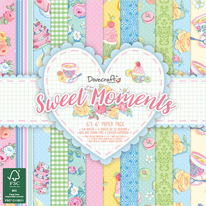 "12 Sheets Dovecraft BOTANICAL BEAUTY  Papers 200gsm First Edition 6/""x6/"""