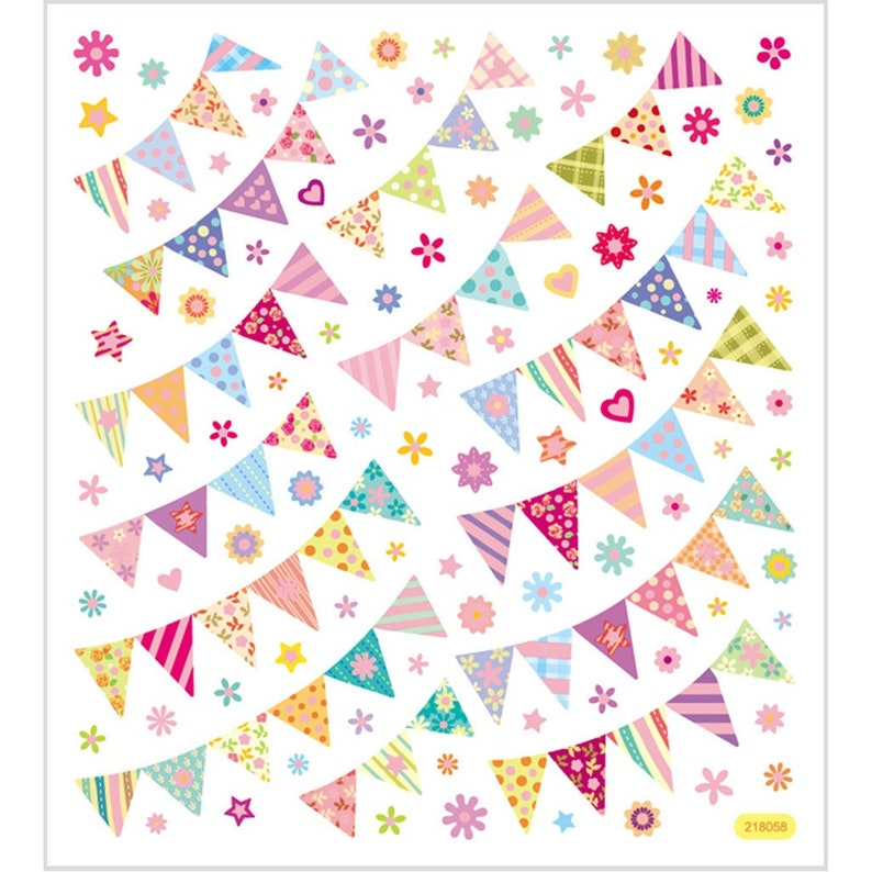 Birthday Cards Foil Peel off Stickers Kids  29127 BUNTING FLAGS MIX Glitter