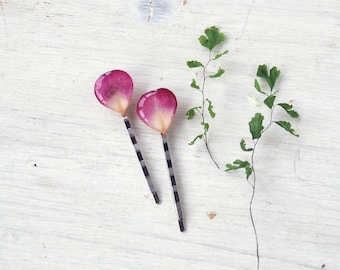 Real Rose Petals Bobby Pins Hair Clips  - nature inspired -Pretty pink rose hairpins