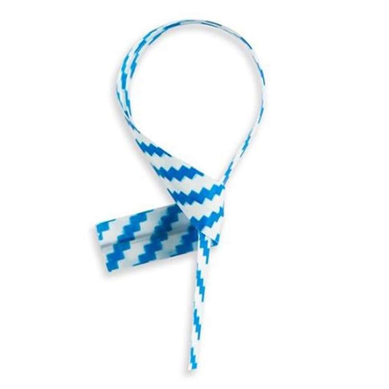 Won/'t Rip or Pull off 100pcs Bright Colorful Blue Stripe PlasticPaper coated 47 x 14 Twist Ties