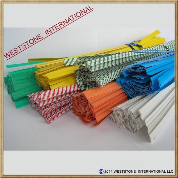 """won/'t rip or pull off 100pcs Plastic//Paper coated BLUE 4/"""" x 1//4/"""" Twist Ties"""