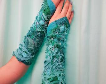 mermaid long cuffs elven - cuffs upcycled arm-warmers fantasy cuffs
