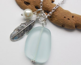 Light Aqua Sea Glass Necklace, Charm necklace, Pearl, Feather Necklace, bridesmaid necklace, beach wedding.  FREE SHIPPING within the U.S.