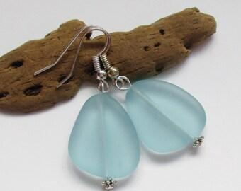 Large Seafoam Green Sea Glass Earrings,Beach Jewelry, Beach Glass Earrings, Seaglass Jewelry, Beach Wedding, Bridesmaid. Free Shipping in US