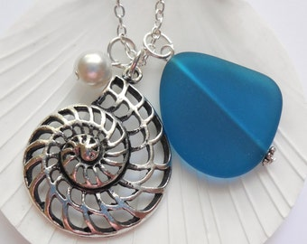 Teal Sea Glass Necklace, Charm necklace, Pearl, Silver Nautilus, bridesmaid necklace, beach wedding. FREE SHIPPING within the U.S.