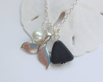 Jet Black Sea Glass Necklace, Beach Glass Necklace, Sea Glass Jewelry, Beach Glass Jewelery, Whale's Tail Necklace, Free US Shipping