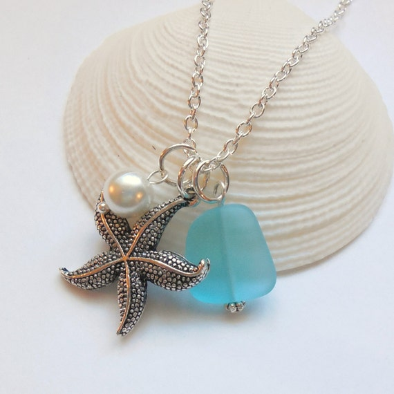 Sterling Silver Starfish Beach Wedding Bridesmaid Gift Set Seastar Personalized Charm Necklaces with genuine Sea glass and Pearl