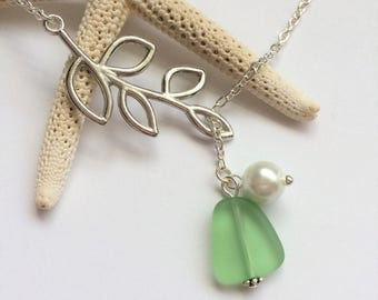 Peridot Green Sea Glass Necklace, Charm necklace, Pearl, Silver Branch, bridesmaid necklace, beach wedding.  FREE SHIPPING within the U.S.