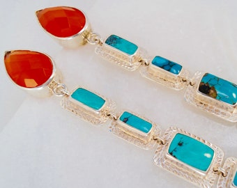 My Inner Indian Carnelian Turquoise & Hand Carved Fine Silver Shoulder Duster Earrings