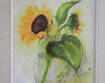 Aquarell,original watercolor painting, wedding gift, sunflower painting, sunflower, cottage decoration , 28x 34cm, 11x 13,4 ""