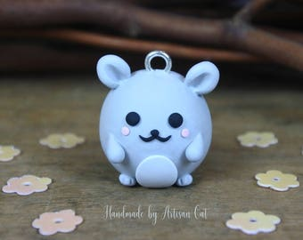 Cute Little Hamster (Grey) - Polymer Clay Charm/Necklace