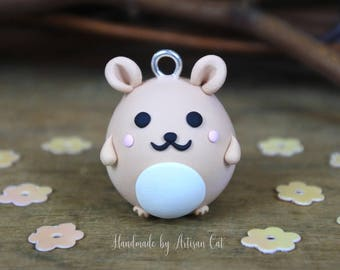 Cute Hamster (Peach) - Polymer Clay Charm/Necklace