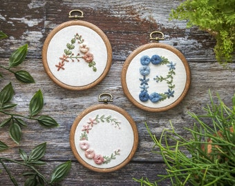 Personalised Hand Embroidery Letter, Floral Hoop Art | Personalised Gift, Home Decor, Christmas Gift, Tree Decoration, Wedding Gift, Floral