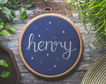 Personalised Name Hand Embroidery Hoop Art | Personalised Gift, Custom Name Hoop, Nursery Wall Decor, Kids Room Decor, Home Decor, Space Art