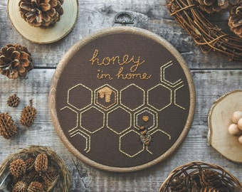"""Hand Embroidered 'Honey, I'm Home' Honeycomb Hoop (6"""") Honey Bee Embroidery Hoop Art 