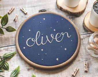 Oliver Nursery Decor Hand Embroidery Hoop Art | Name Embroidery Hoop, Wall Decor, Kids Room Decor, Home Decor, Space Art