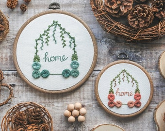 Personalised Hand Embroidery 'Home' Hoop, Floral Hoop Art | Personalised Gift, Home Decor, New House Gift, Botanical Embroidery, Wall Art