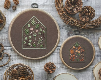 Personalised Hand Embroidery Botanical House Hoop, Floral Hoop Art | Personalised Gift, Home Decor, New House Gift, Botanical Embroidery