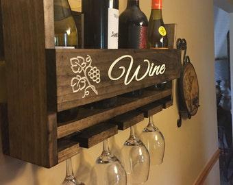Personalized Gift | Wine Bottle Holder | Handmade Wine Rack | Primitive  Wine Rack | Wine Bottle Holder | Reclaimed | Shower Gift | Wedding