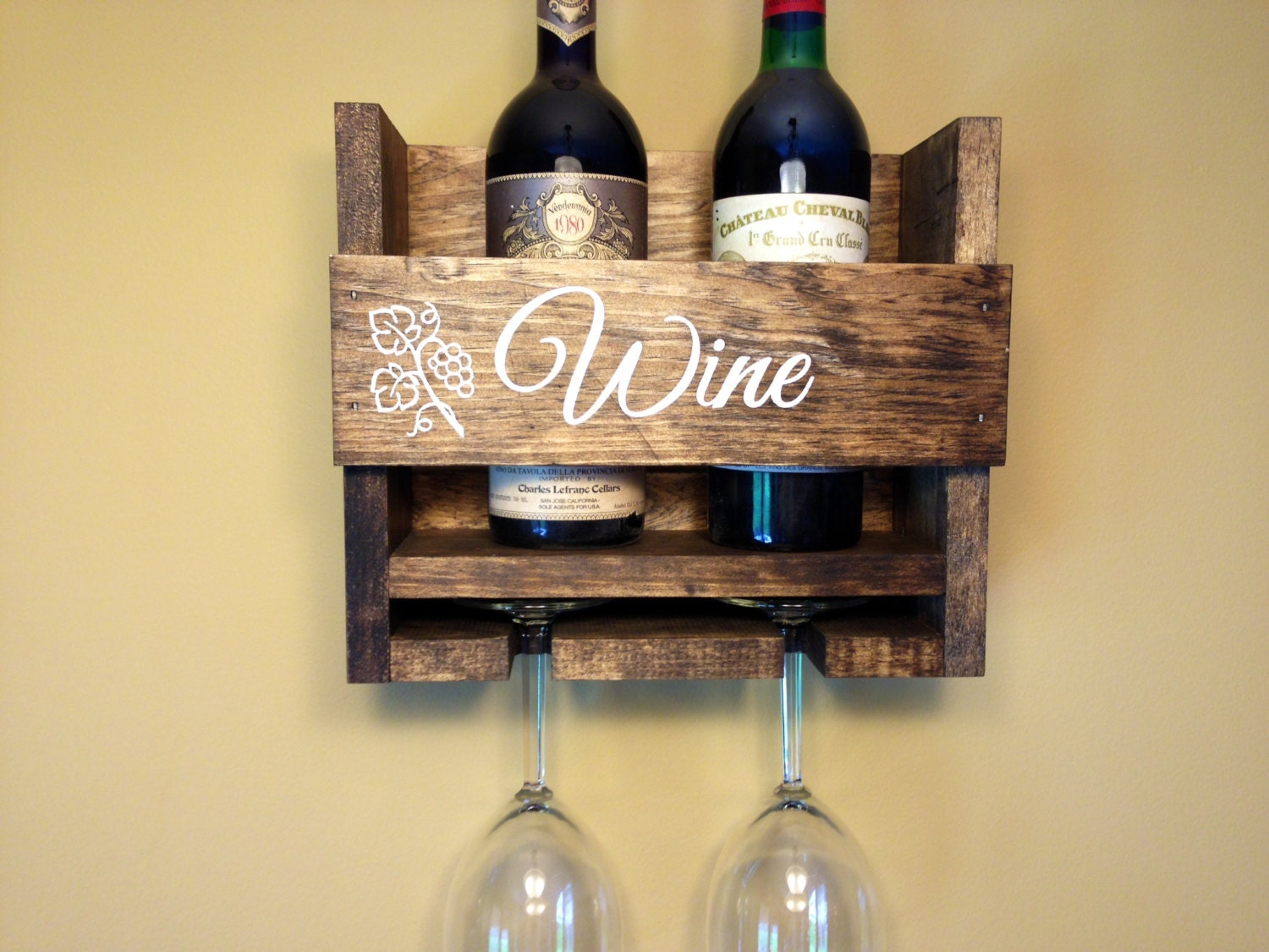 Wine Rack Personalized Custom Rustic 2 Bottle Wall Mount Wine