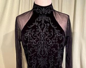 Ronni Nicole Deep PurpleEggplant Stretch Velour Size 12 Vintage 1980s