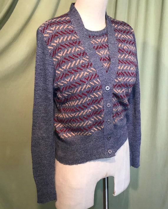 Cute Vintage 70s Beeline 2 Piece Cardigan & Vest … - image 3