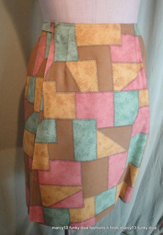 Fun Original Vintage 70s Patchwork Print Cotton Safari Jacket /& Wrap Skirt Suit Bust 34 Waist 24 Teeny Spots
