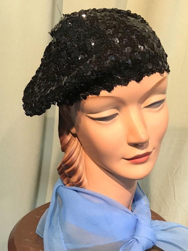 Fun Original Vintage 90s Black Sequin Stretch Beret Tam Hat Small Size