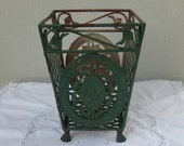 Unique Vintage old green lattice leaf design iron metal square basket stand planter sturdy strong rusty patina waste wastebasket unusual