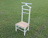 Butler Valet chair white w wicker seat Cottage Shabby Chic Vintage wood clothes suit hanger garment dressing room suit tux shop store tray