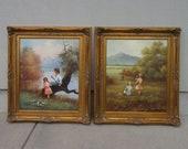 Large Paintings set of two original signed art fancy ornate frames Vintage possibly antique filigree scrolled carved syroco wood statement