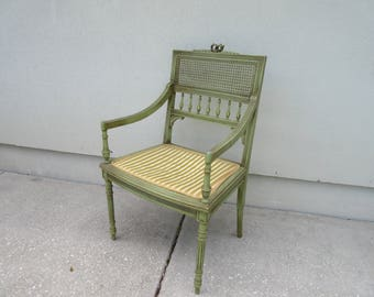 Vintage Arm Chair Armchair Ornate Detailed Green Gold Carved Cane Wood Desk  Dresser Vanity Dressing Room Chair Decorative Accent Living Room