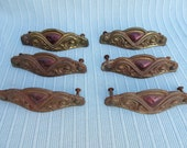 Antique,Vintage,set of six,metal,brass look or plated,drawer pulls,handles,old rusty patina,dresser,chest of drawers,purple color,