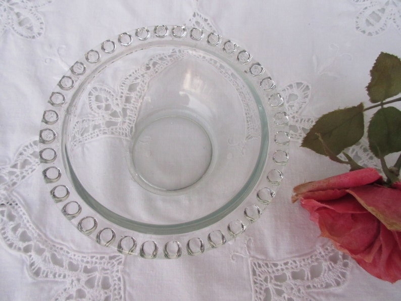 Vintage,pale green,clear Glass bowl with hobnail edge,berry,condiment,serving,side dish,fruit,display,small size,decorative,fancy,Retro