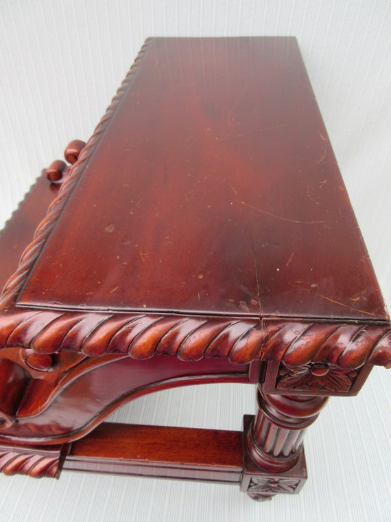 Super Antique Bed Step Bedside Steps Stool Mahogany Wood Carved Fancy Decorative Edge Swirled Design Footed Tall High Vintage Bed Or For Library Ibusinesslaw Wood Chair Design Ideas Ibusinesslaworg