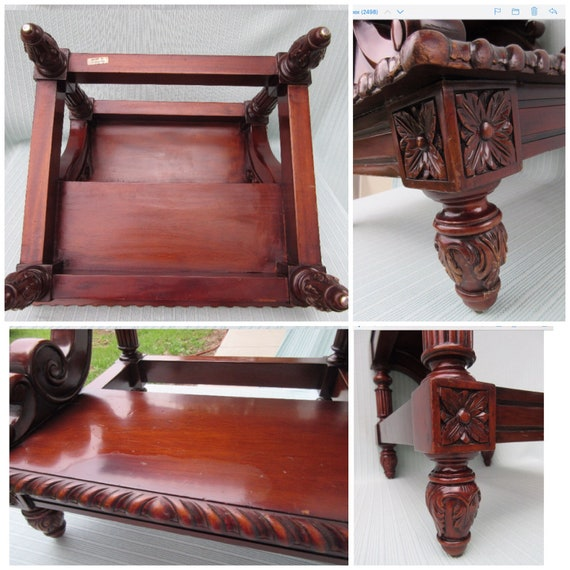 Phenomenal Antique Bed Step Bedside Steps Stool Mahogany Wood Carved Fancy Decorative Edge Swirled Design Footed Tall High Vintage Bed Or For Library Ibusinesslaw Wood Chair Design Ideas Ibusinesslaworg