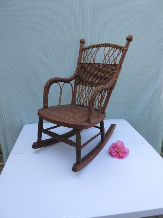 Remarkable Childs Rocking Chair Rocker Antique Vintage Sturdy Wood Wicker Rope Large Doll Primitive Furniture Toy T For Girl Boy Dark Aged Color Dailytribune Chair Design For Home Dailytribuneorg