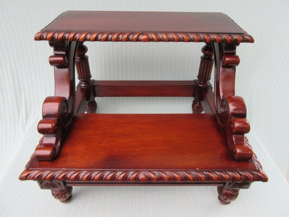 Superb Antique Bed Step Bedside Steps Stool Mahogany Wood Carved Fancy Decorative Edge Swirled Design Footed Tall High Vintage Bed Or For Library Ibusinesslaw Wood Chair Design Ideas Ibusinesslaworg