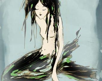 Mermaids - Mermaid artwork - Mermaid giclee print,  from an original drawing by Annie Taylor