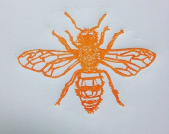 Honey Bee Linocut