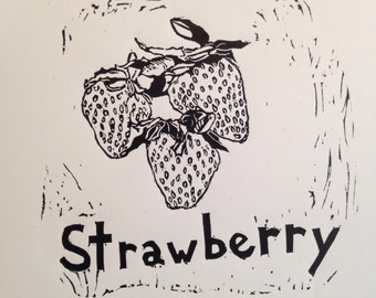 Strawberry Linocut Print in Black