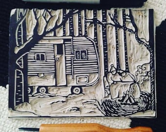 Winter Camper Print with color