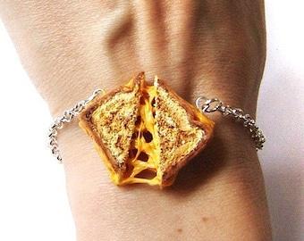 Grilled Cheese Bracelet, Miniature Food Jewelry, Polymer Clay Sandwich, Grilled Cheese Jewelry, Food Charm Bracelet